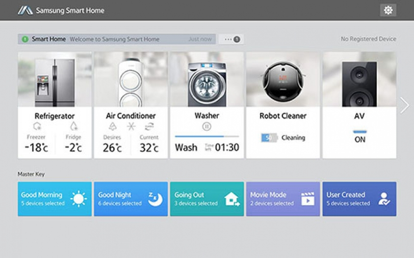 samsung launches smart home android app and two compatible appliances. Black Bedroom Furniture Sets. Home Design Ideas